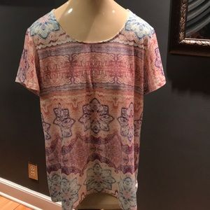 Chico's pastel print short sleeve tee, size M/8